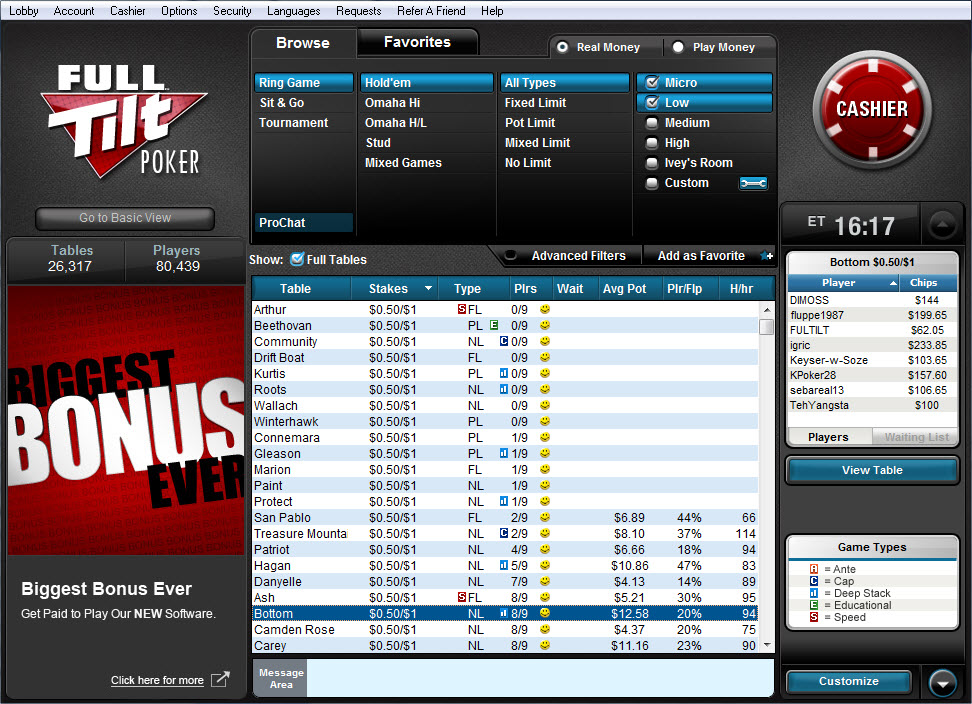 Full tilt poker pro names